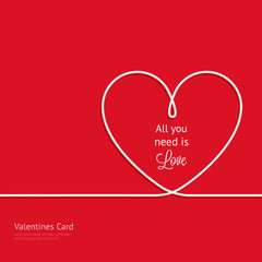 Valentines card with line heart and all you need is love phrase - Vector