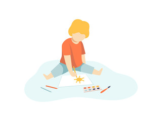 Cute Boy Sitting on Floor and Drawing with Paints and Pencils on Sheet of Paper, Kids Creativity, Education, Development Vector Illustration