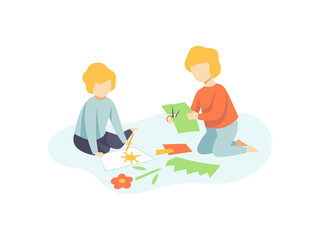 Two Boys Sitting on Floor Cutting Application Details and Drawing, Kids Creativity, Education, Development Vector Illustration