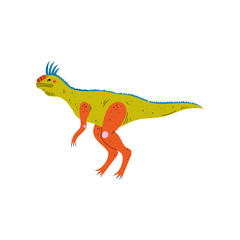 Colorful Tsintaosaurus Dinosaur, Cute Prehistoric Animal Vector Illustration