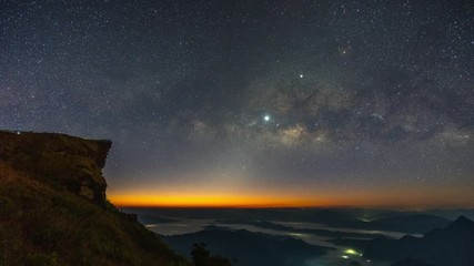 Wall Mural - Time lapse of Milky way and star at night in Phu chi fa, Chiang rai, Thailand.