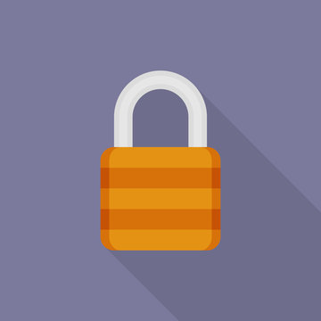 Lock icon with long shadow on purple background, flat design style