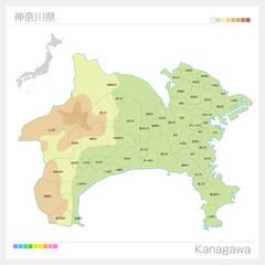 神奈川県の地図(等高線・色分け・市町村・区分け)