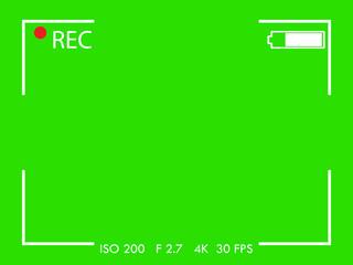 Camera frame viewfinder screen on green background. Vector illustration.