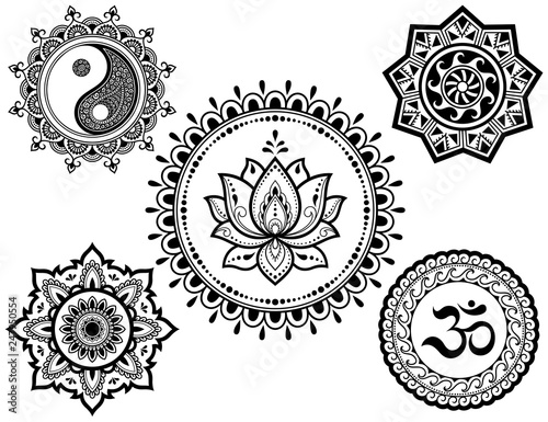 Set Of Circular Patterns In Form Of Mandala With Religious Symbols