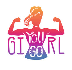aa2164036 Vector lettering illustration with female silhouette doing bicep curl and  hand