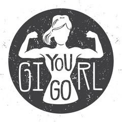543d16fac Motivational vector fitness illustration. Female silhouette doing bicep  curl,