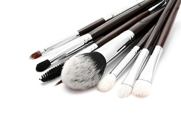 Various set of professional makeup brushes isolated