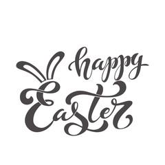 Happy Easter handwritten lettering typography. Hand drawn design elements. Logos and emblems for invitation, card. Vector illustration.