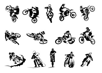 Extreme bike big vector set 14x, motocross Fototapete