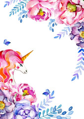 Template for cards, invitations, banners of flowers, leaves, twigs and a unicorn with a pink mane and a golden horn. Flora and fauna. Festive design. Watercolor drawing. Fairy-tale character.