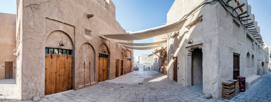 DUBAI, UAE - December 13: View of traditional arabic buildings at Al Fahidi Historical District, Bastakiya