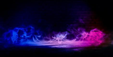 Background of an empty dark room. Empty walls, neon light, smoke, smog. Blue and pink smoke, ultraviolet light in the dark.