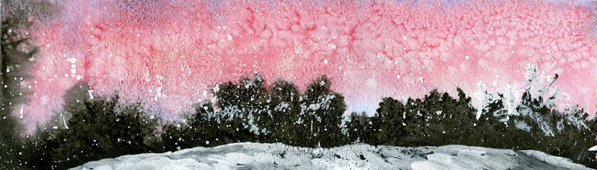 pink and black abstract winter watercolor landscape