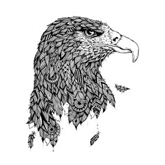 Handmade graphics: eagle head with ethnic ornament in style zen art