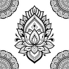 Seamless decorative ornament in ethnic oriental style. Circular pattern in form of mandala and Lotus flower for Henna, Mehndi, tattoo, decoration.