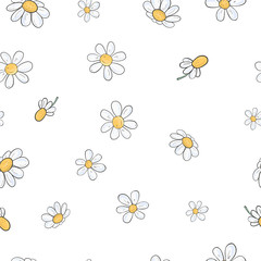Seamless floral pattern with chamomile flowers. Vector illustration on white background in sketch style.