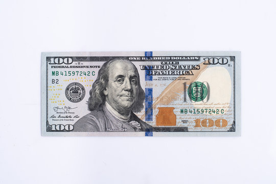 One hundred dollar bill isolate on a white background