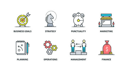 BUSINESS PLAN COLORED  ICON SET