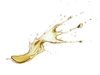 Olive or engine oil splash, golden sunflower oil isolated on white background, 3d illustration with Clipping path.