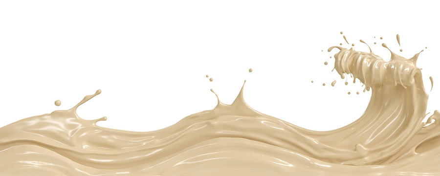 wave of White Chocolate or Cocoa splash, Abstract background, 3D illustration.