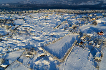 aerial drone view with winter landscapes