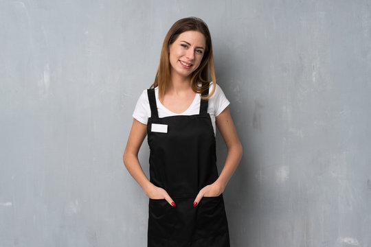 Employee woman laughing looking to the front