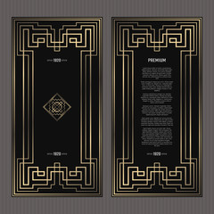 Vector card. Art Deco style. Dark golden geometric frame on black background. Luxury menu concept with logo.