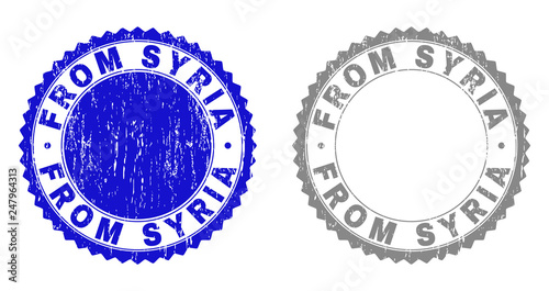 Grunge FROM SYRIA stamp seals isolated on a white background