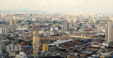 Aerial view of the huge city of Sao Paulo in Brazil seen from one of the tallest buildings in downtown.