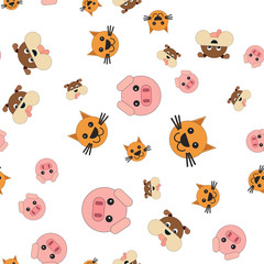 Seamless pattern of pig and dog cat heads.