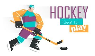 Professional hockey player skating on ice. Vector illustration