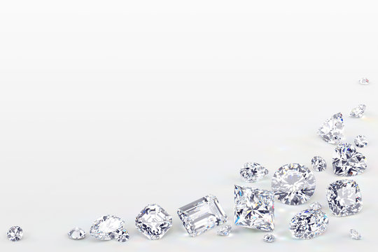 Variously cut diamonds scattered along the image corner on white background