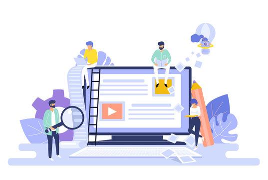Blogging and copywriting concept. Content management. Seo blog web background vector illustration