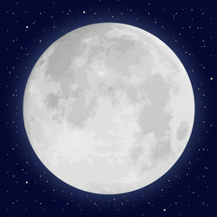 Realistic full moon and stars