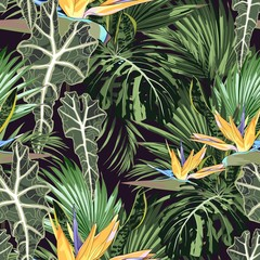 Tropical pattern with strelizia flowers and leaves. Exotic seamless pattern with tropical leaves. Background with Hawaiian flowers and plants.