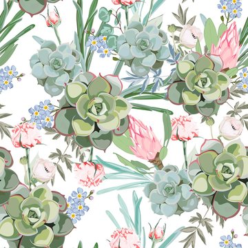 Floral pattern, delicate pink protea flower wallpaper, white herbs and green pink succulent. Delicate feminine pattern on the white background.