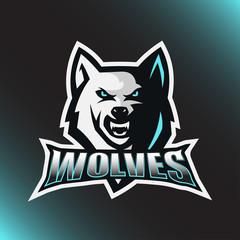 ice wolf head logo mascot illustration
