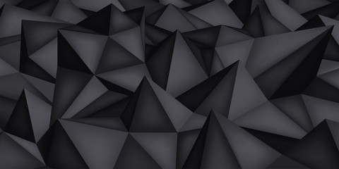 Low polygon shapes, dark background, black crystals, triangles mosaic, creative origami wallpaper, templates vector design