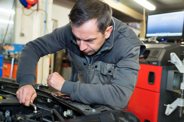 serious mechanic at work