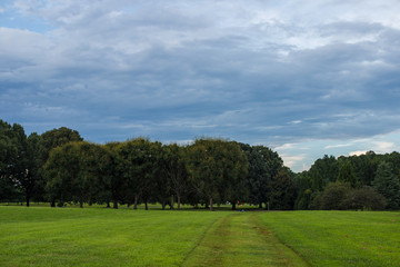 Park with a smooth green lawn, beautiful trees and picturesque clouds. Beautiful clouds in the sky over the summer forest. Landscaping. Park Milliken Arboretum, Spartanburg, South Carolina, USA