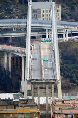 The collapsed Morandi Bridge is seen in Genoa