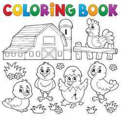 Canvas Prints For Kids Coloring book chickens and hen theme 2