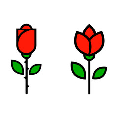 cartoon tulip and red rose vector