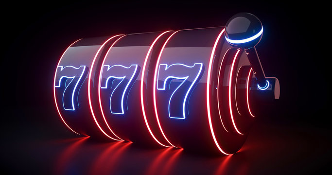 Futuristic Slot Machine Concept With Red And Blue Neon Lights Isolated On The Black Background - 3D Illustration