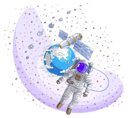 Astronaut flying in open space connected to space station and earth planet in background, spaceman in spacesuit floating in weightlessness and iss spacecraft, stars and other elements.
