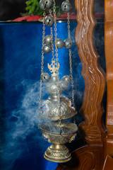 Religious object kandilo or cresset. Christian religion concept.