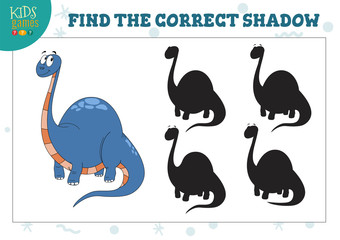 Find the correct shadow for cute dinosaur educational preschool kids game
