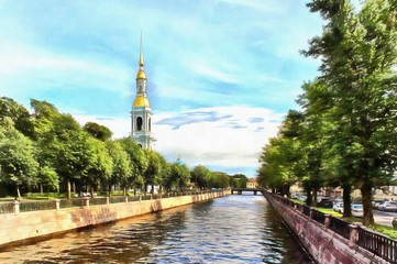 Kryukov Canal and the bell tower of the Nikolsky Sobor