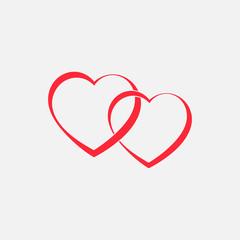 Two red hearts vector connected together.